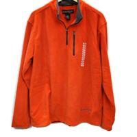Free Country Mens Sz L Jacket Pullover 1/4 Zip Fleece Orange Gray Sz Large