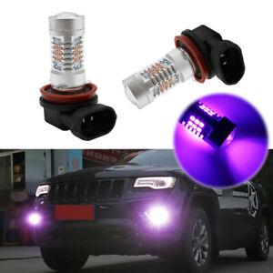 2x Accessories Pink Purple H11/H8 LED Fog Driving Lights Foglight DRL Bulb Lamps