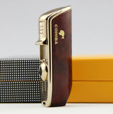 Cohiba Triple Jet Flame Torch Lighter Windproof Refillable Cigar Puncher Brown