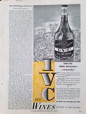 1944 IVC Wine Pale Dry Sherry Serving Tray Bottle Original Ad
