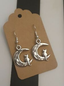 Crescent Moon with Cat Witch Phases Love Statement Silver Plated Dangle Earrings
