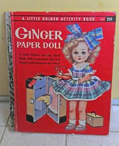 Vintage 1957 GINGER LITTLE GOLDEN ACTIVITY BOOK Paper Doll Used Condition