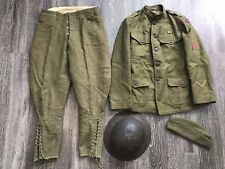 Original US WWI 30th battalion Uniform Grouping Tunic Pants Helmet Cap WW1