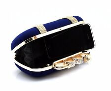 WOMENS VELVET SUEDE SNAKE DIAMANTE GOLD 4 RING CLUTCH BAG WEDDING BLACK BLUE RED