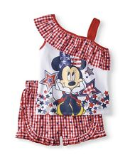 Disney Minnie Mouse Girls 2pc Red White & Blue Outfit Size XS (4-5) New
