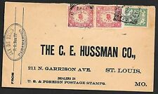 Surinam covers 1909 NVPH 59 PAIR+44 Firmcover to St.louis