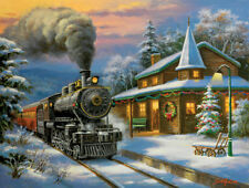 """Jigsaw Puzzle Steam Train In the Winter """"Holiday Limited"""" Log Cabin - 500 Piece"""
