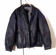 Vtg Black Leather Falls Creek Quilted Bomber Leather Jacket Sz 2XL /3XL
