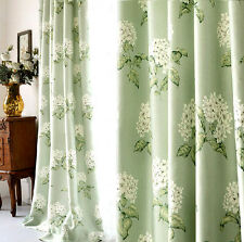 Pair of Designer Curtains,Cotton Vintage Floral Green Hydrangea 2 off 115x230cm