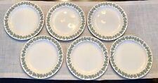 WEDGWOOD QUEENSWARE ~ Set of 6 Celadon Green on Cream Dinner Plates ~ Plain Edge