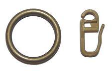 10 Metall Gardinenringe messing antik mit Faltenhaken für Vorhangstangen 19 mm