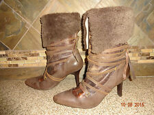 "Womens Diesel ""Lahti Fur"" Sz 9/40 Brown Leather Lace-up Boots Shoes 3.5"" Heels"
