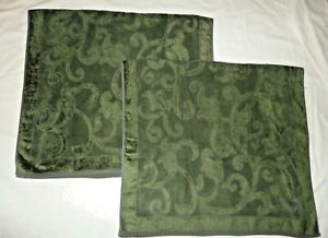 SPUGNA ITALIANA GREEN GATE SCROLL JACQUARD VELOUR (2PC) SET BATH TOWELS 27 X 48