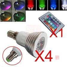 4x E14 3W 16 Color Changing RGB LED Light Bulb Lamp 85-265V+IR Remote Control