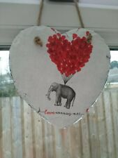 Elephant with 💓 balloon Decoupage Hanging Slate Heart 15 cm , Home Decor, Gift