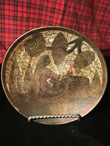 Antique Persian Islamic Middle East Copper Metal Engraved PLATE TRAY BOWL