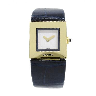 CHANEL Matelasse Damen Quarz Armbanduhr Q. H.93687 18K YG750 Marineblau 30047