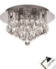 Plafonnier Lumière de Salle Bain Lampe Chrome à 4 Cristal Ø 35cm Incl.led