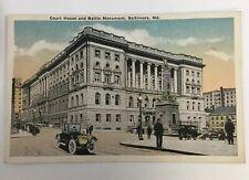Baltimore Maryland Vintage Color Postcard Court House & Battle Monument Unposted