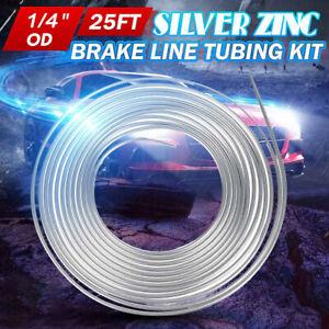 "1/4"" OD 25Ft Coil Roll Steel Zinc Silver Fuel Brake Line Hose Tube Tubing Kit US"