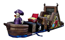 40x10x15 Commercial Inflatable Pirate Ship Obstacle Course Bounce House Slide