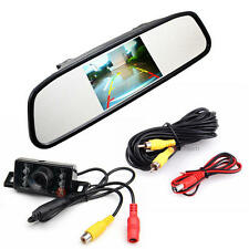 "4.3"" LCD Screen Car Rear View Backup Mirror Monitor Parking Reverse Camera Kit"