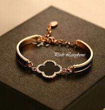 18K Rose Gold GF Stunning Clover Bangle Bracelet W/ SWAROVSKI CRYSTALS