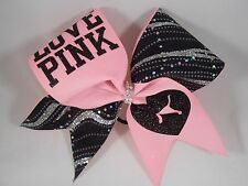 Cheer Bow LOVE PINK Black Silver by BlingItOnCheerBows