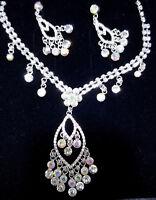Choker Necklace Earring Rhinestone AB