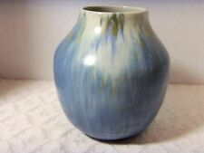 "Vintage Roseville Pottery Tourmaline 7"" Vase Art Deco Blue & Brown Drip 1933"
