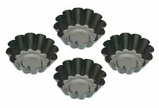 Kitchen Craft Non-Stick Mini Fluted Tart Tins  Set of Four Fluted/Round