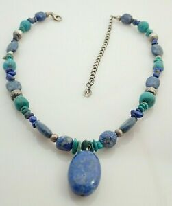 Carolyn Pollack Relios Lapis Lazuli Drop Turquoise Sterling Beaded Necklace