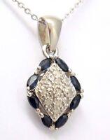 Saphir Anhänger mit Kette  Saphir & Diamanten   925er Silber