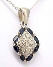 Zafiro Diamante DIAMANTES Colgante Cadena Plata 925 Plata esterilina
