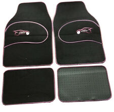 Mazda 323 323F Universal PINK Trim Black Carpet Cloth Car Mats Set of 4