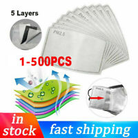 1-500Pc PM2.5 Activated Carbon Filter Pads 5 Layers Replacement For Adult/Child