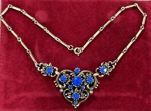 Vintage Signed Coro Blue Rhinestone Antiqued Gold Tone Necklace 1948-1955