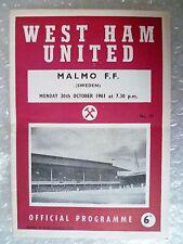 1961 West Ham United v Malmo FF; Suecia, 30th Oct (partido amistoso)