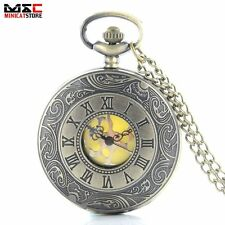 Vintage Steampunk Pocket Watch Quartz Necklace Pendant Chain Bronze Roman Gift