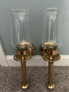 Brass wall sconce candle holder pair of 2