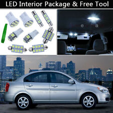 8PCS Xenon White LED Interior Lights Package kit Fit 2006-2011 Hyundai Accent J1