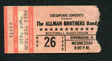 1980 Allman Brothers Mother's Finest  Concert Ticket Stub Birmingham Alabama