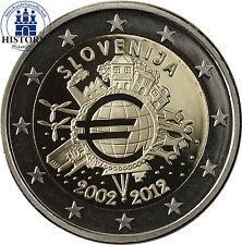 Slowenien 2 Euro Gedenkmünze 2012 PP 10 Jahre Euro- Bargeld in Münzkapsel