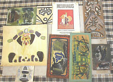 ERVIN NEUHAUS FRENCH JEWISH ARTIST 8 MIXED MEDIA PAINTINGS 1960s SIGNED