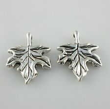 16pcs Tibetan Silver Maple Tree Leaves Charms Pendants for Jewelry 13x17mm