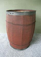 "Antique Wood Barrel Metal Wire Bands 18"" Tall, Vintage Primitive Glassware China"