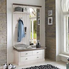 Garderobe Monaco Set Spiegel Bank Paneel Kiefer massiv weiß white wash Landhaus