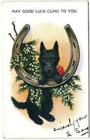 Scottie terrier dog Christmas horseshoe Miller & Lang postcard