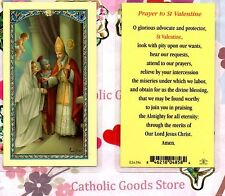 saint valentine with prayer to st valentine laminated holy card