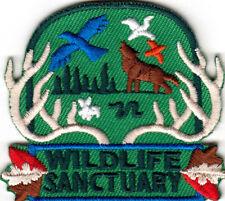 WILDLIFE SANCTUARY Iron On Patch Wild Animals Zoo Jungle